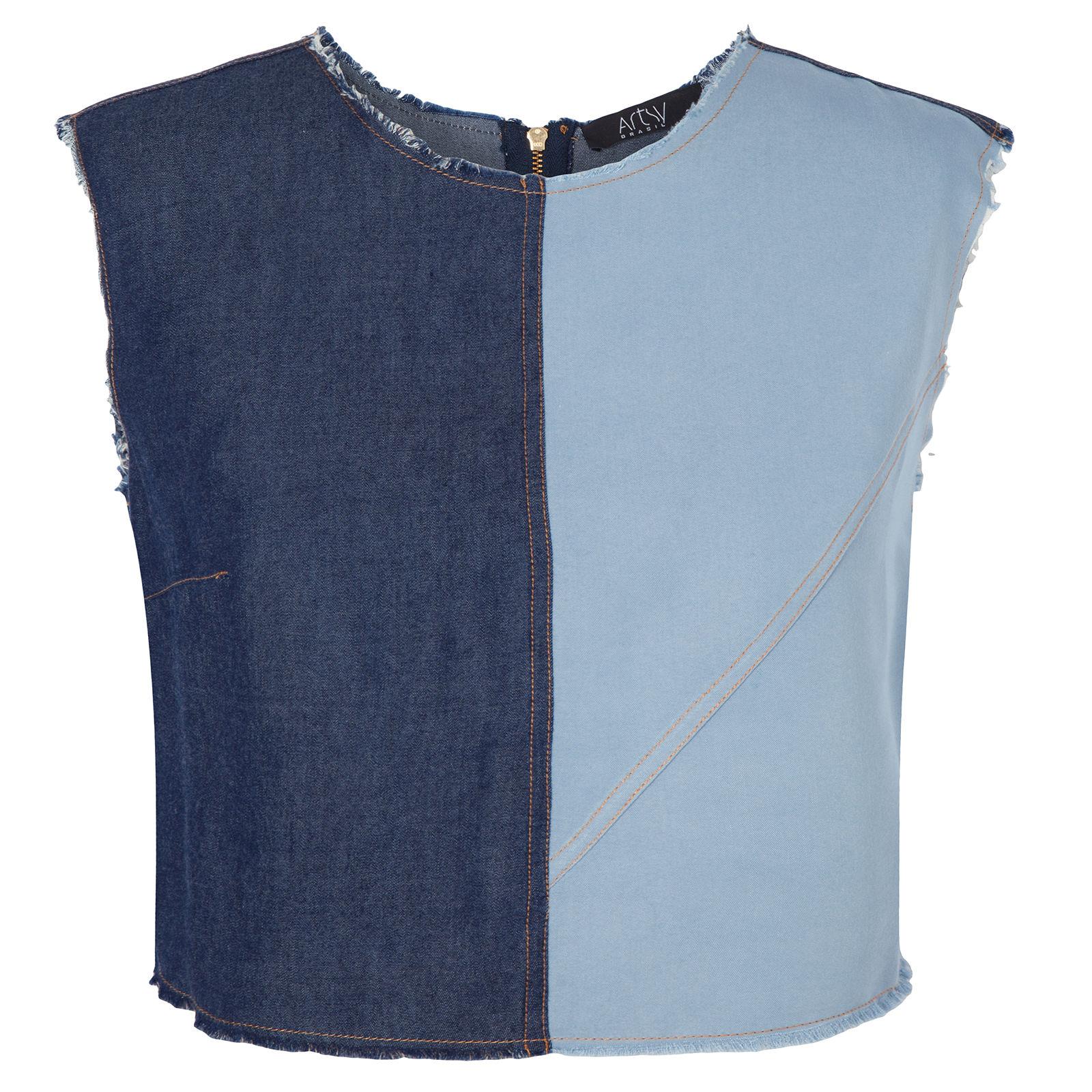 Regata Cropped Jeans Bicolor - Azul
