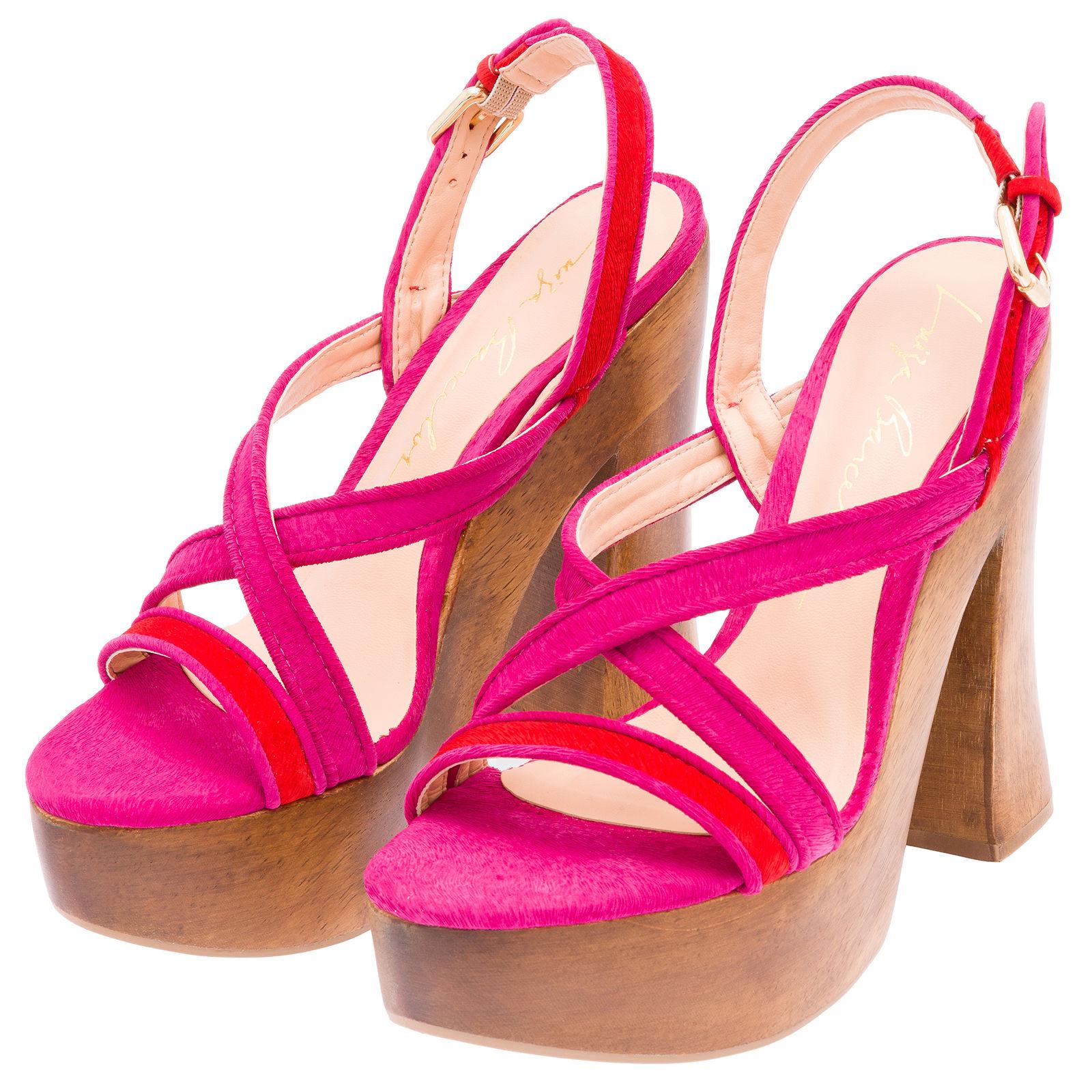 Sandália Salto Grosso Tiras - Rosa E Vermelha