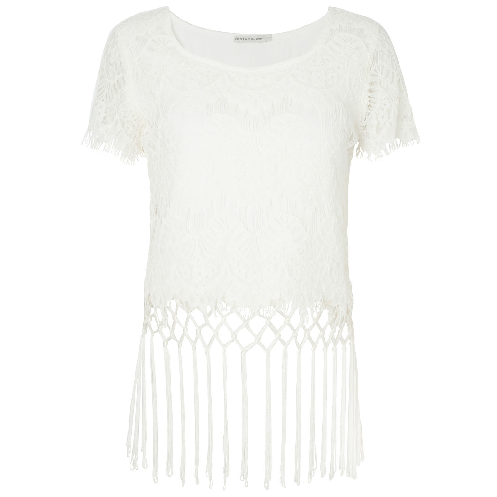 Blusa Cropped Costume Macramê - Off White