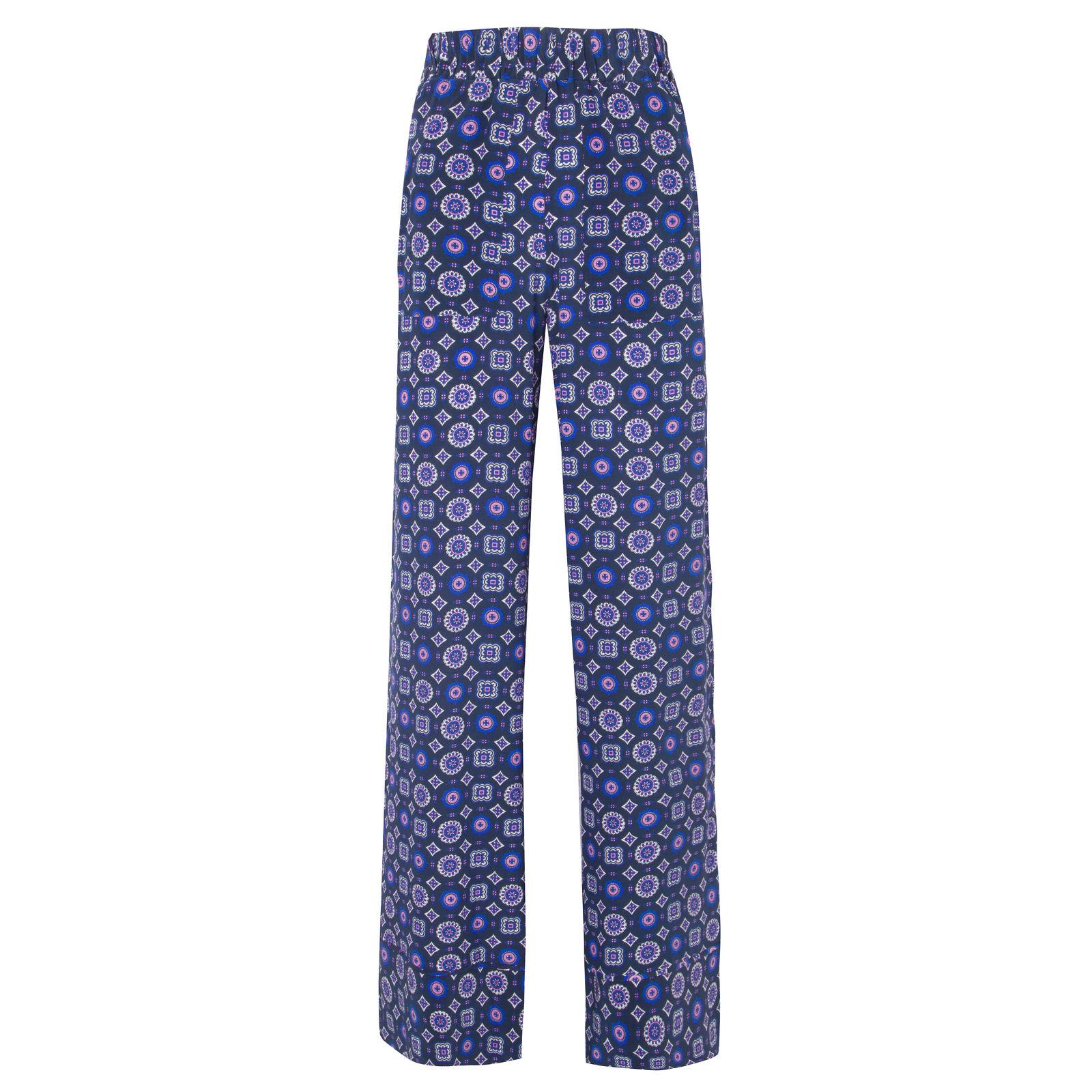 Calça Pantalona Seda Débora Magrella - Azul