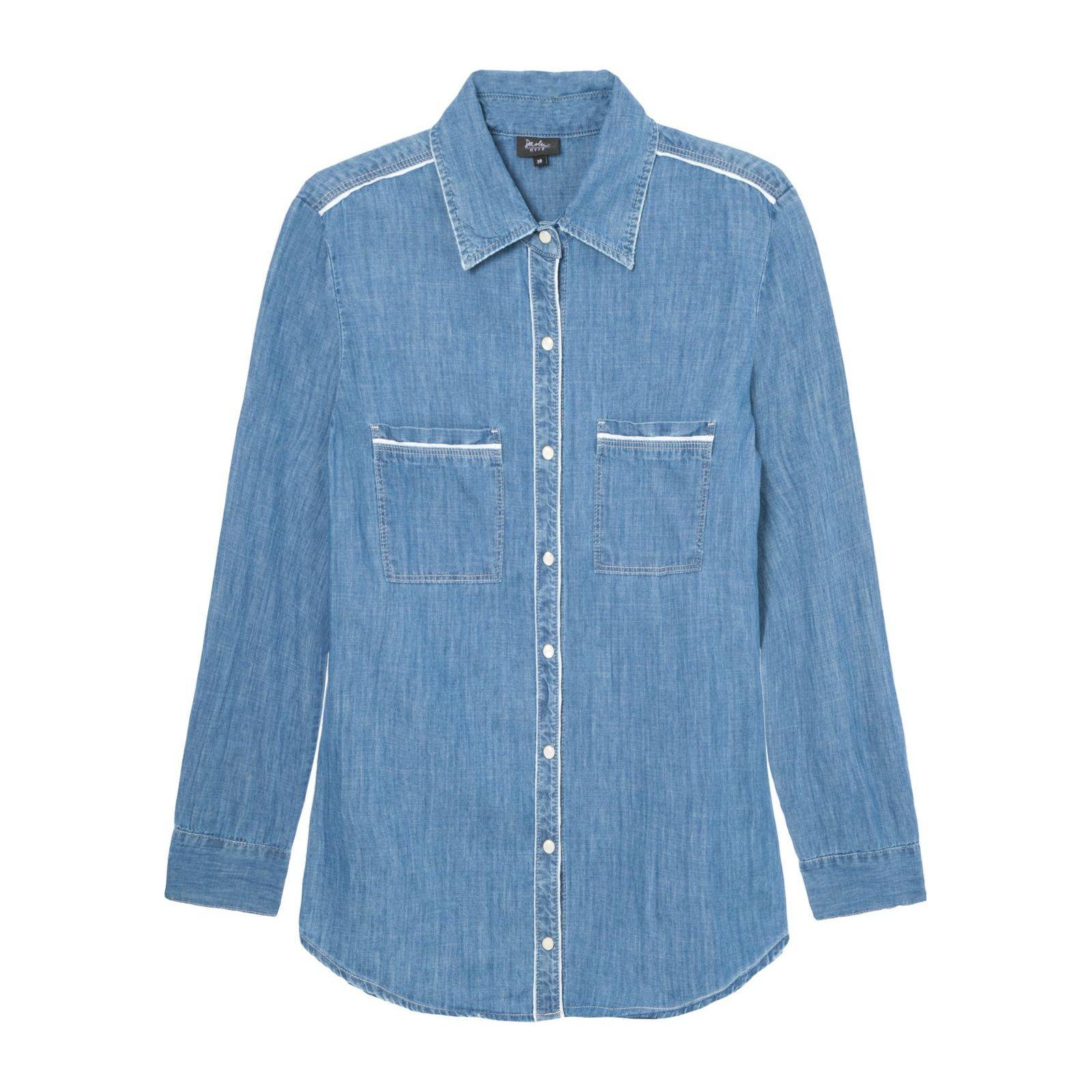 Camisa Jeans Viés Daslu - Azul