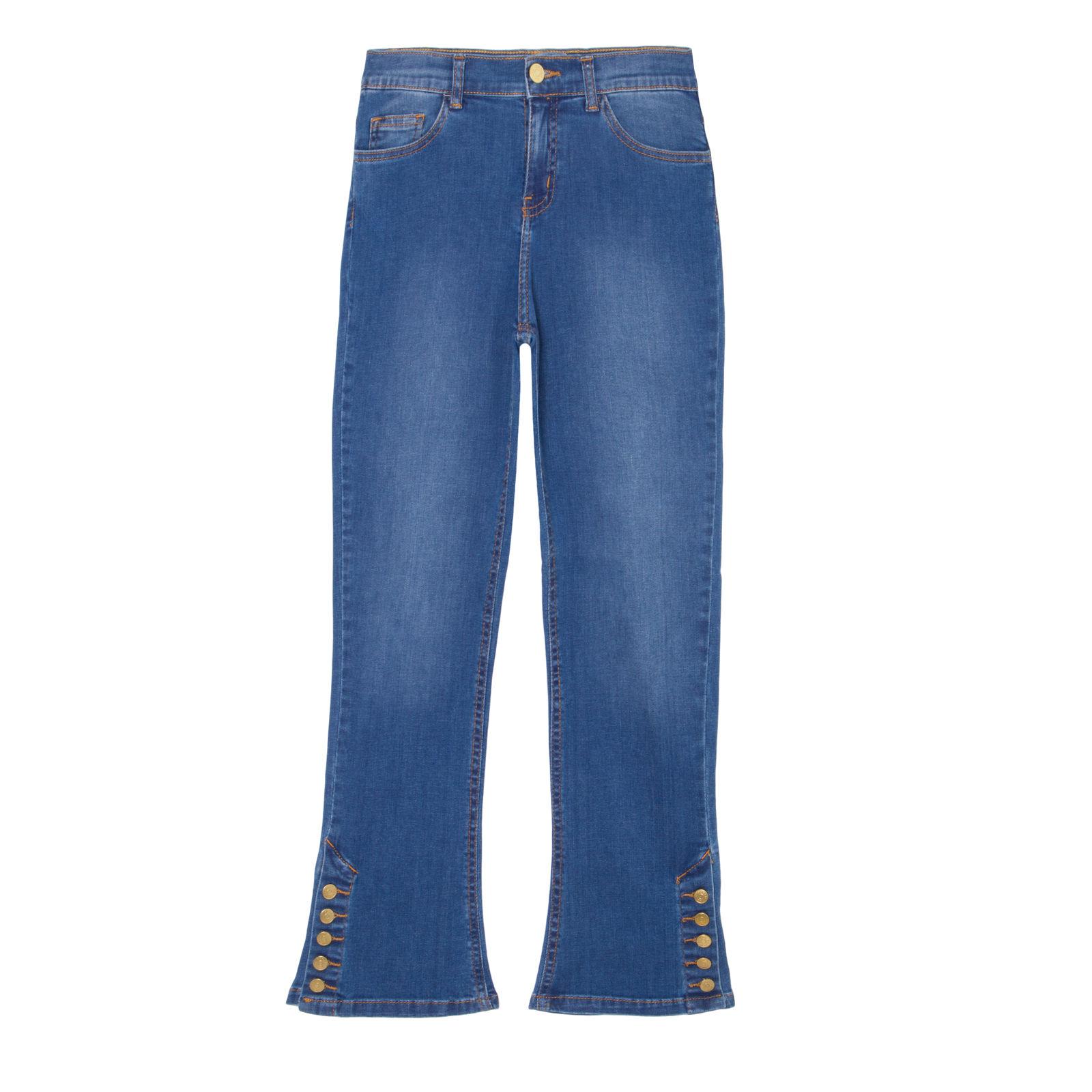 Calça Jeans Cropped Flare Botões - Azul