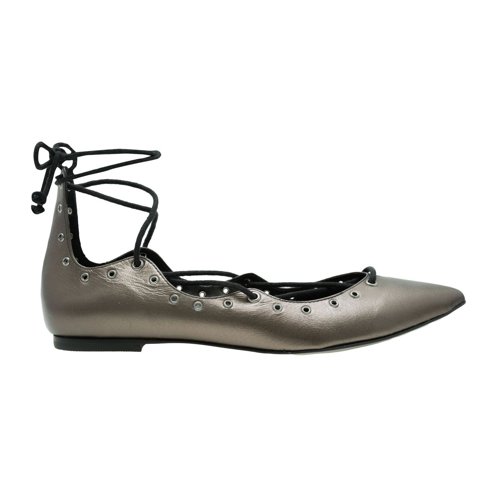 Sapatilha Lace Up Metálica - Cinza