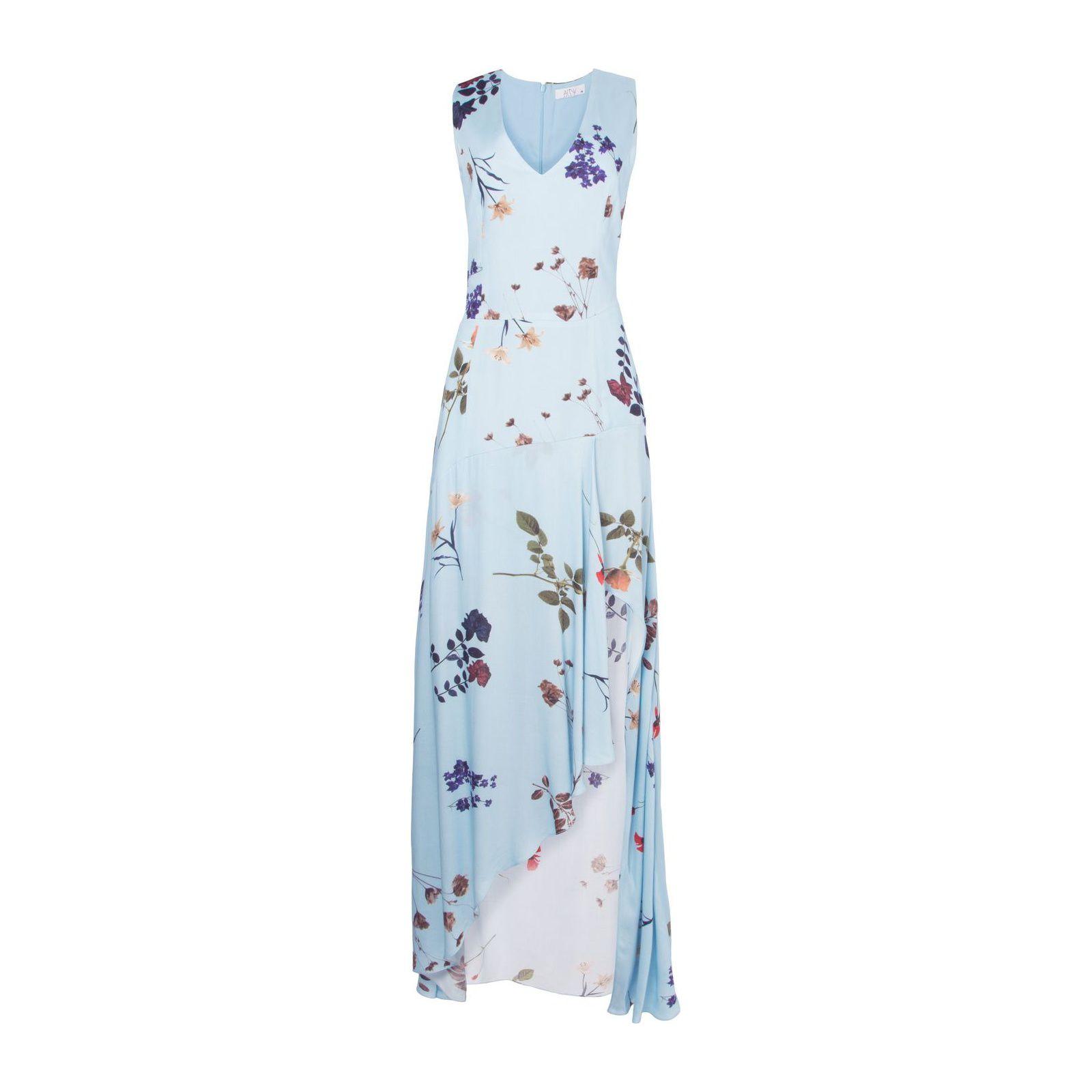Vestido Floral Fenda Hi-Lo - Azul