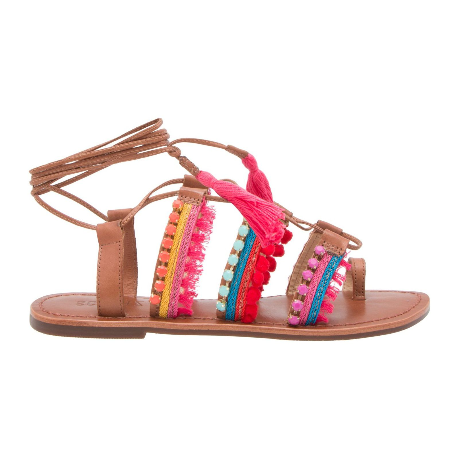 Sandália Rasteira Lace Up Flourescent Gipsy - Marrom