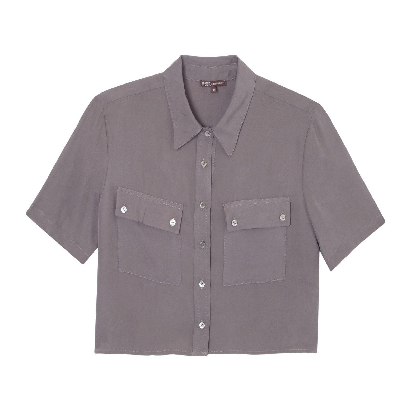 Camisa Cropped Gwen - Cinza