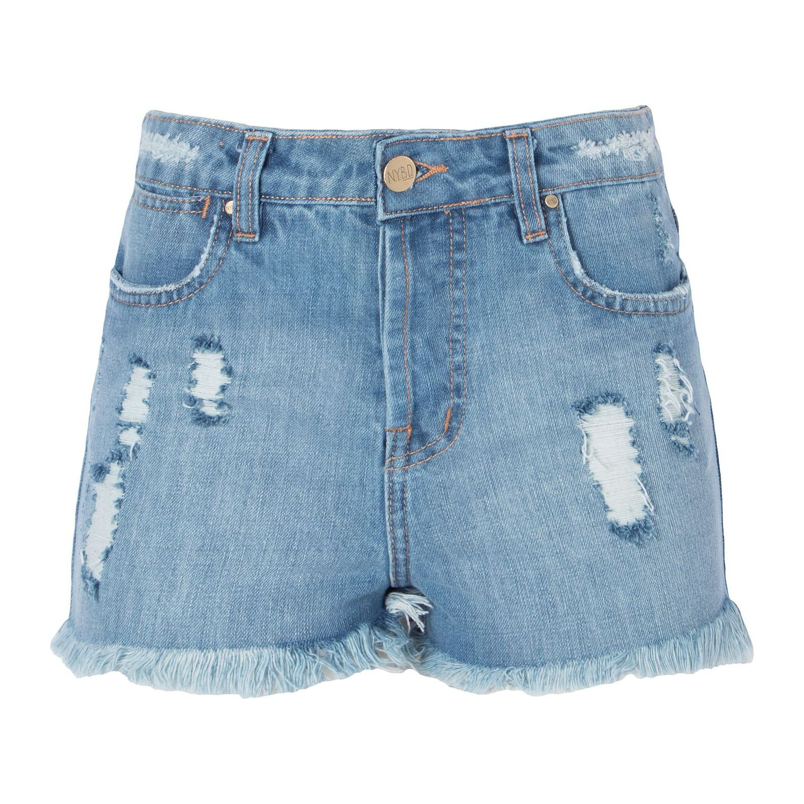 Short Jeans Destroyed Bordado Inca