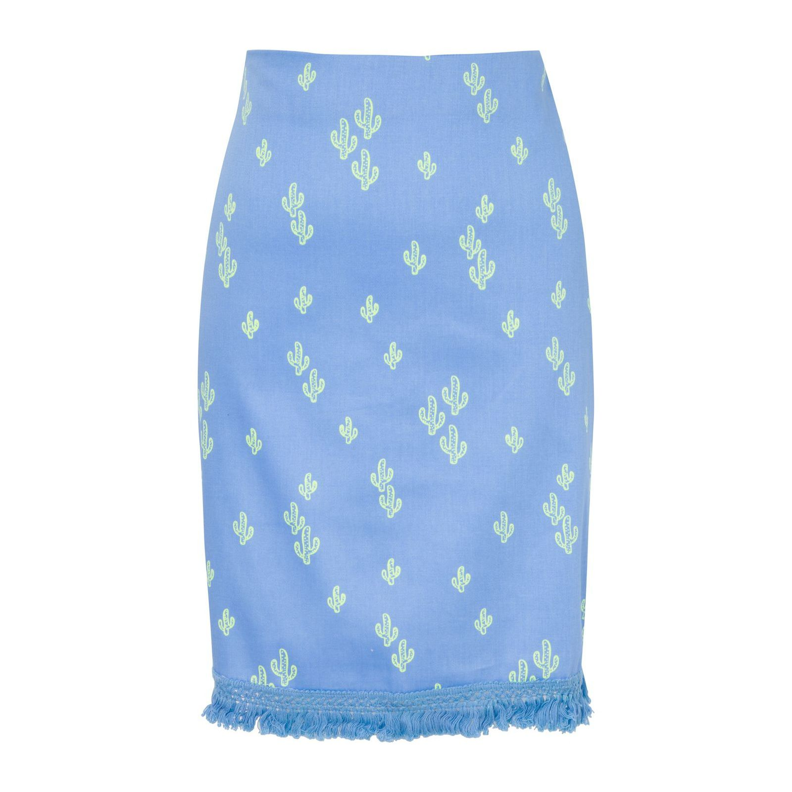 Saia Lápis Cacto Franja - Azul