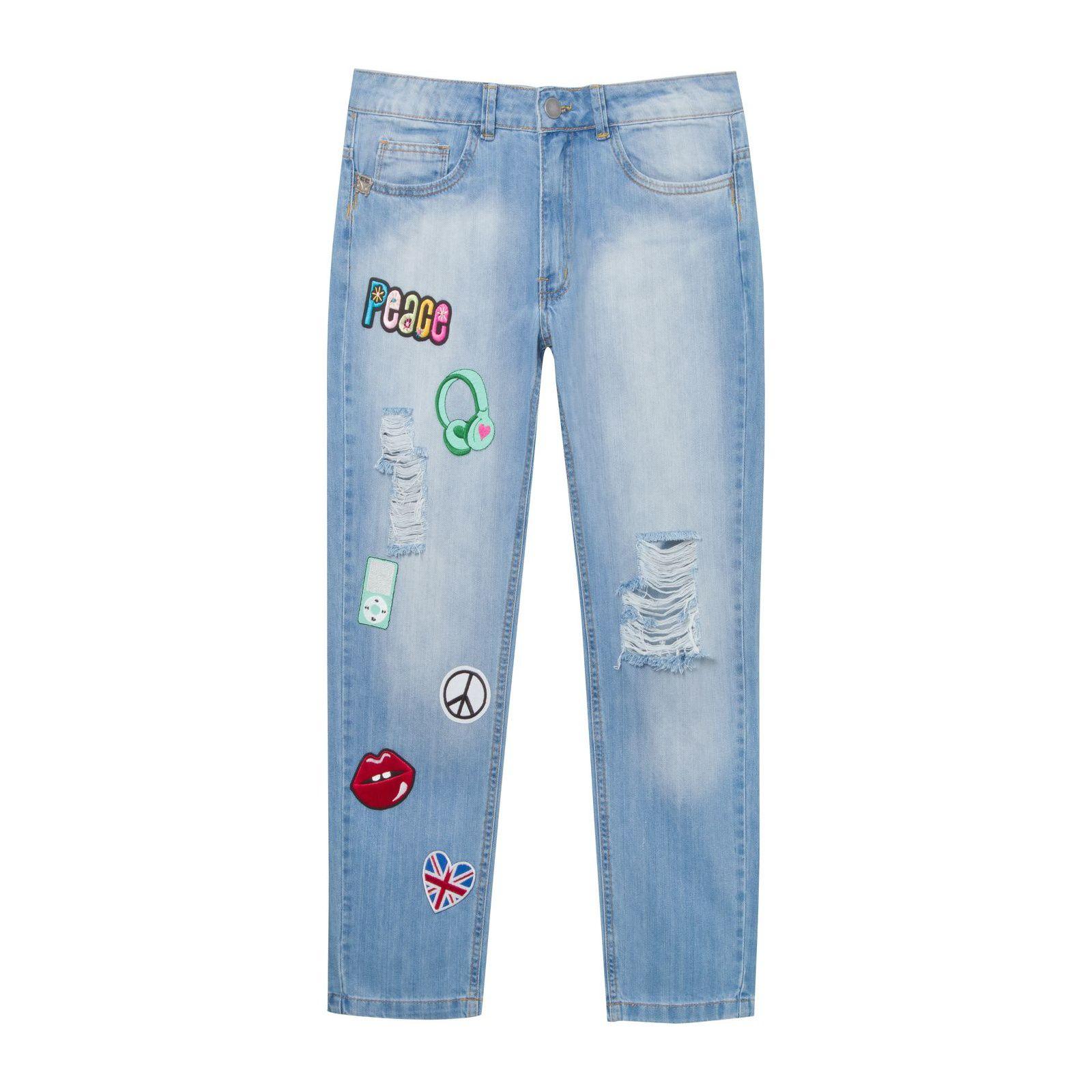 Calça Jeans Boyfriend Patches Janis - Azul