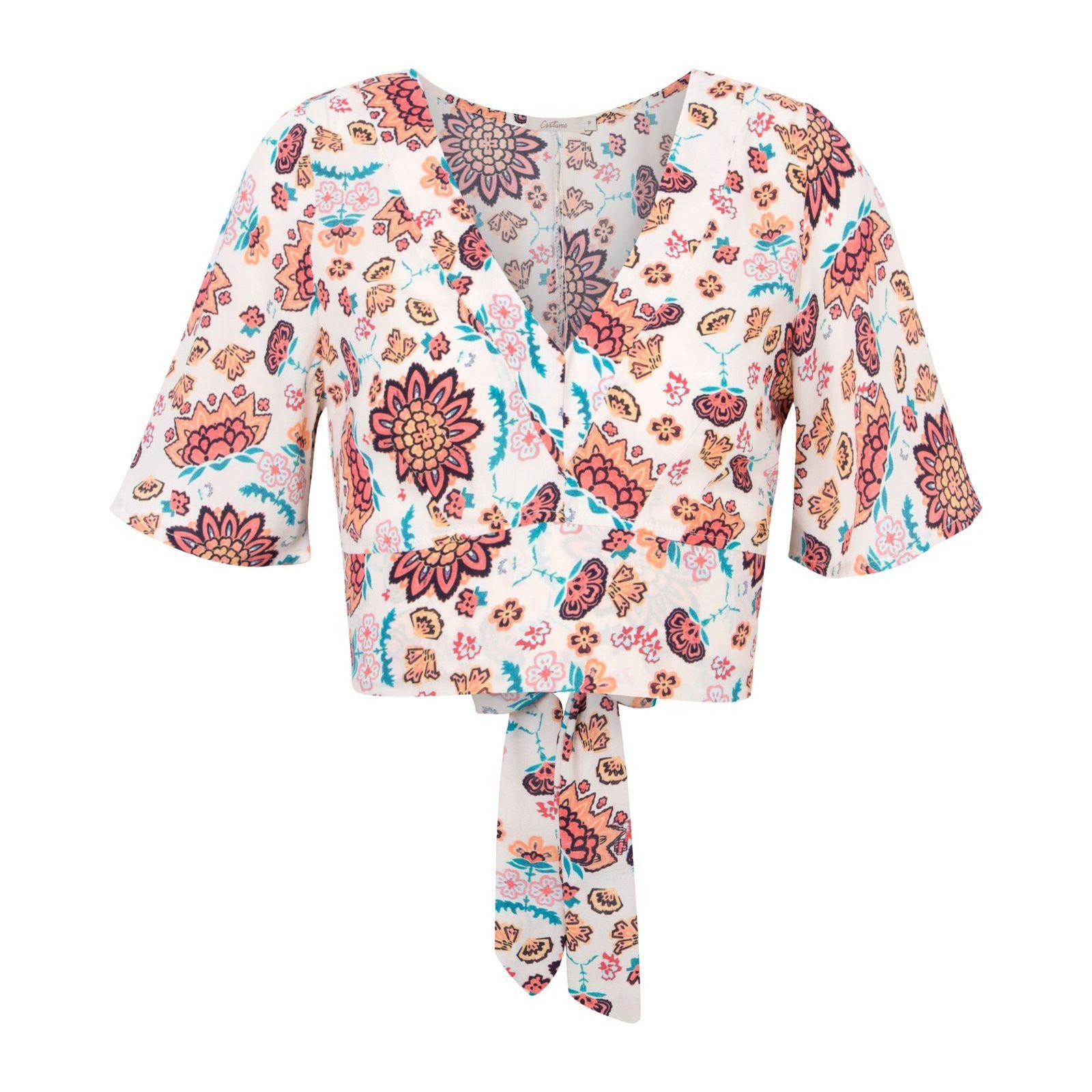 Blusa Cropped Floral Amarração