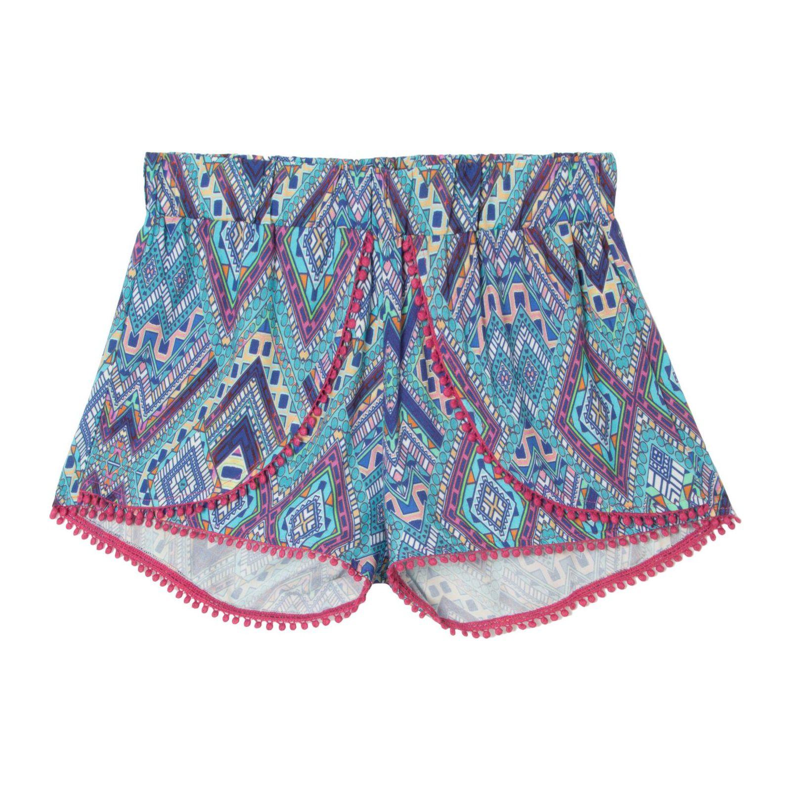Short Tribal Pompons - Azul