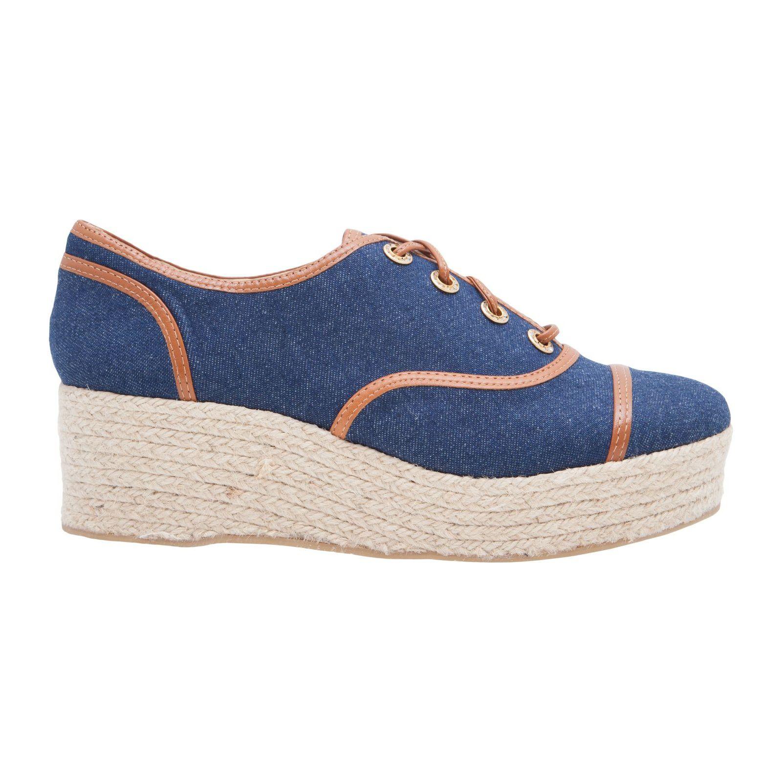 Oxford Flatform Jeans Whisky - Azul