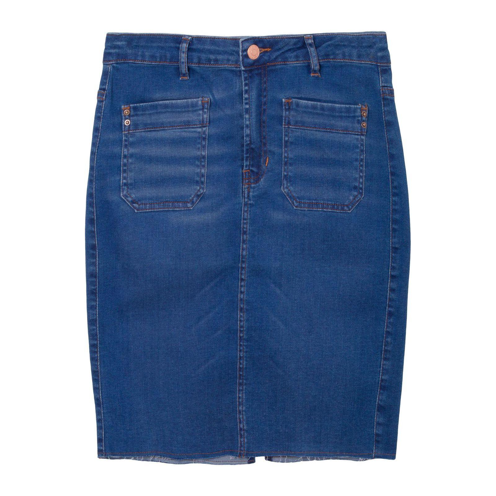 Saia Jeans Lápis Bolsos - Azul