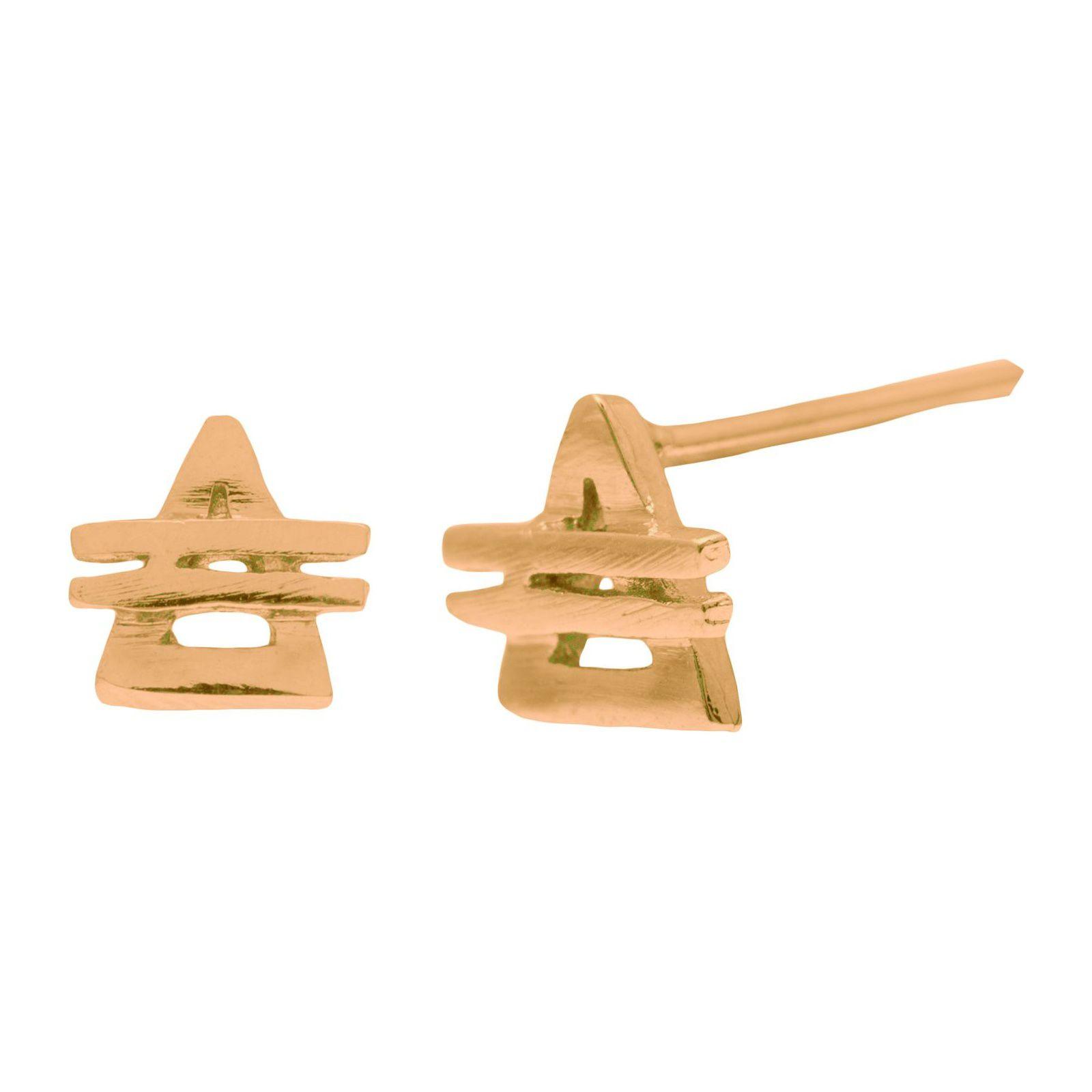 Brinco Unitário Pirâmide - Dourado