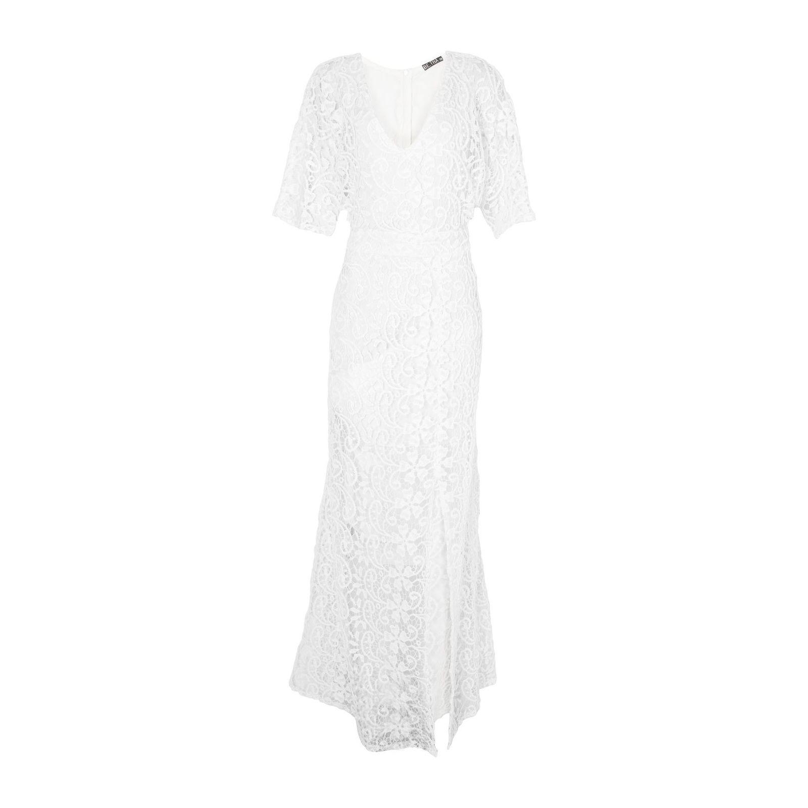 Vestido Longo Guipure Snow - Off White