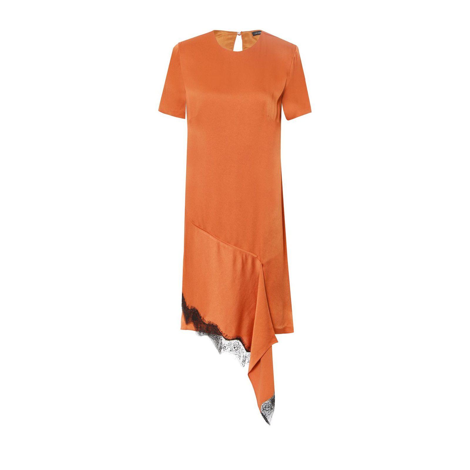 Vestido Assimétrico Barra Renda - Laranja