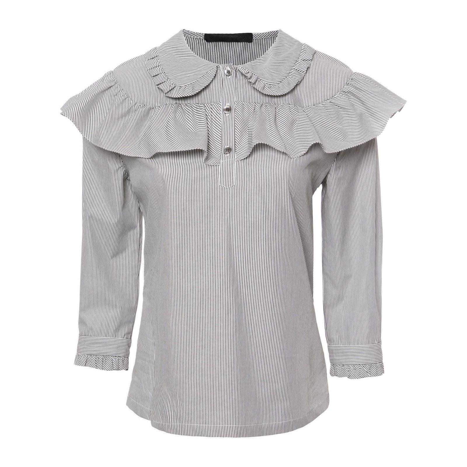 Camisa Listras Pala Babados - Cinza