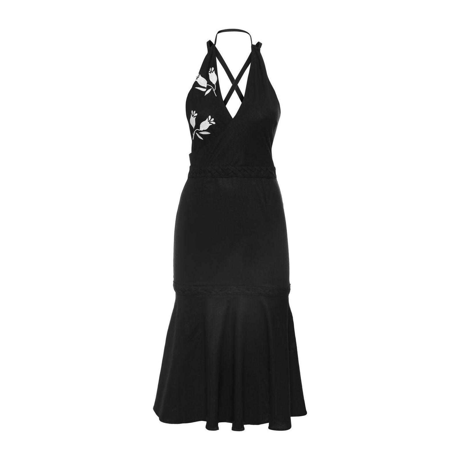 Vestido Mídi Bordado - Preto
