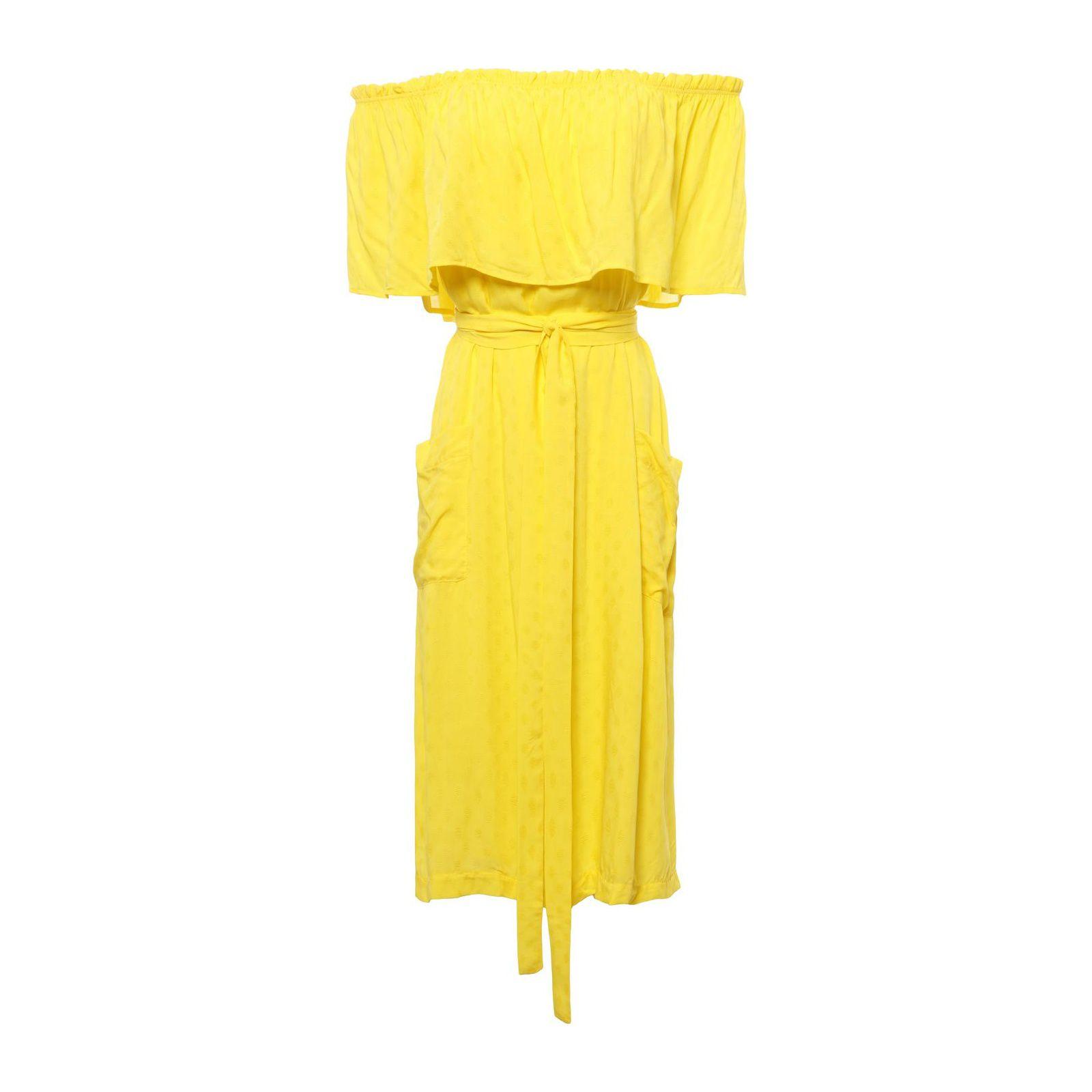 Vestido Ombro A Ombro Babado - Amarelo