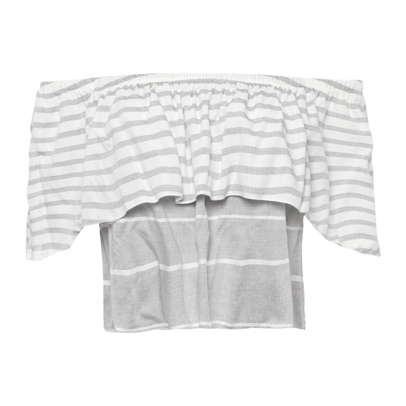 Blusa Cropped Ombro A Ombro Listrada