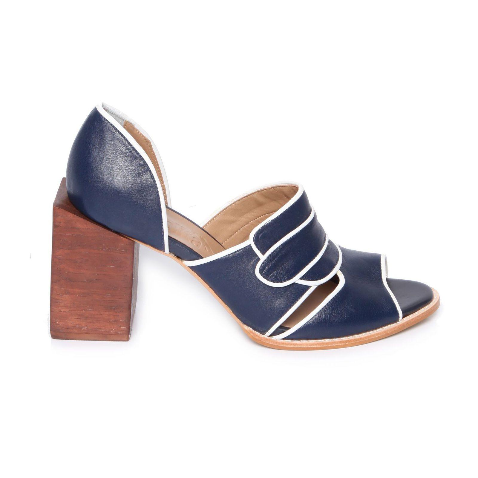 Sandália Salto Geométrico - Azul