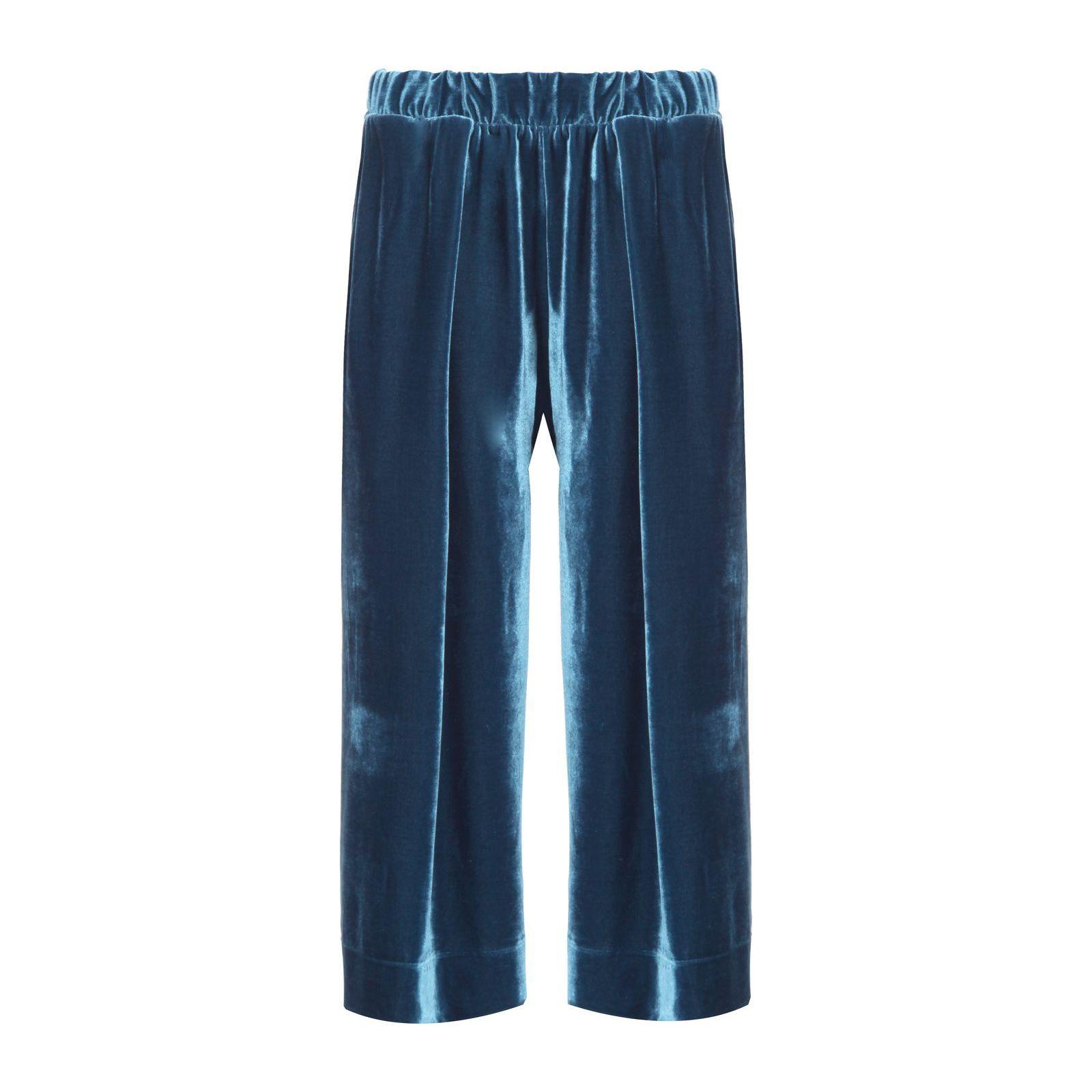 Calça Pantacourt Veludo Isabella Fiorentino - Azul