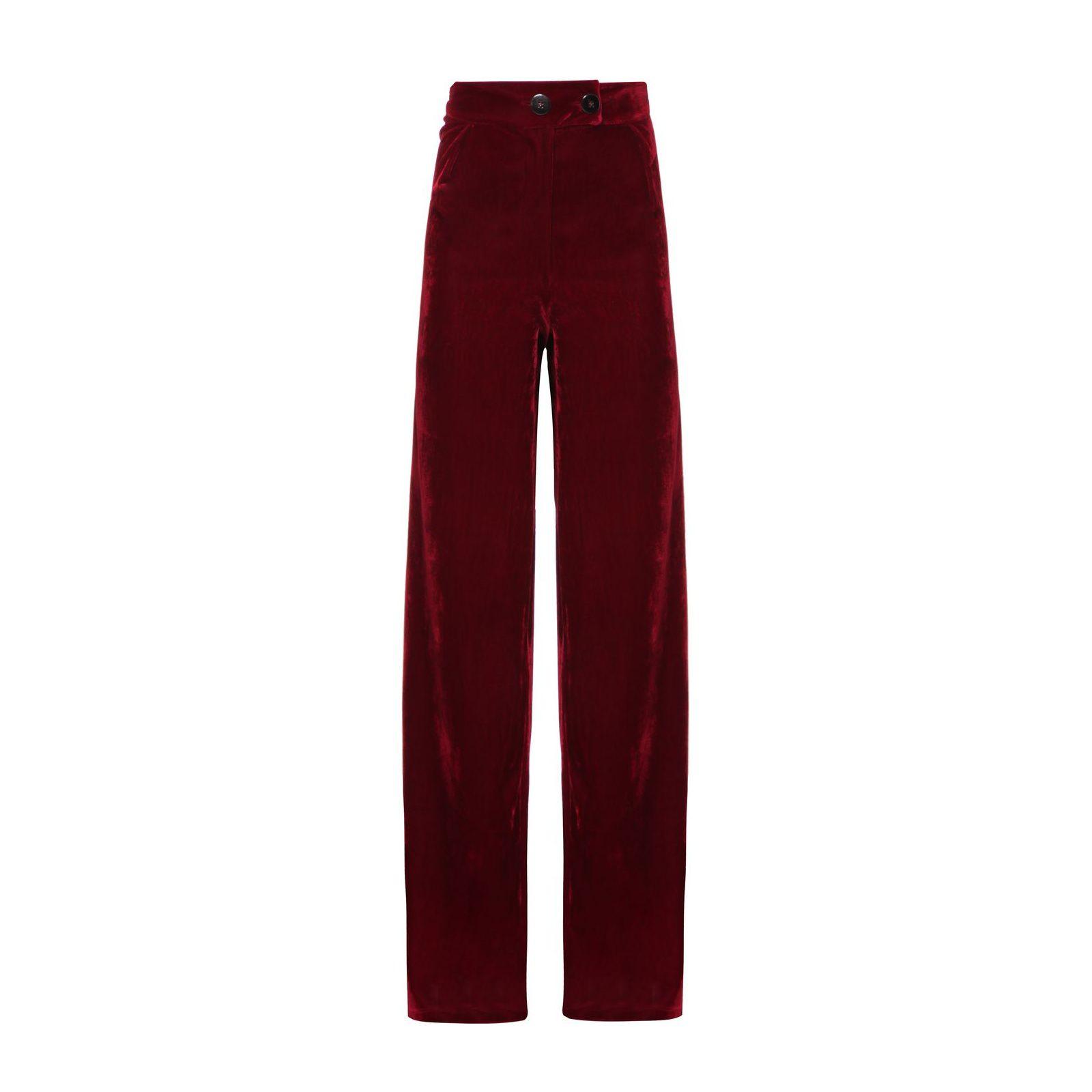 Calça Pantalona Veludo Isabella Fiorentino - Vermelho