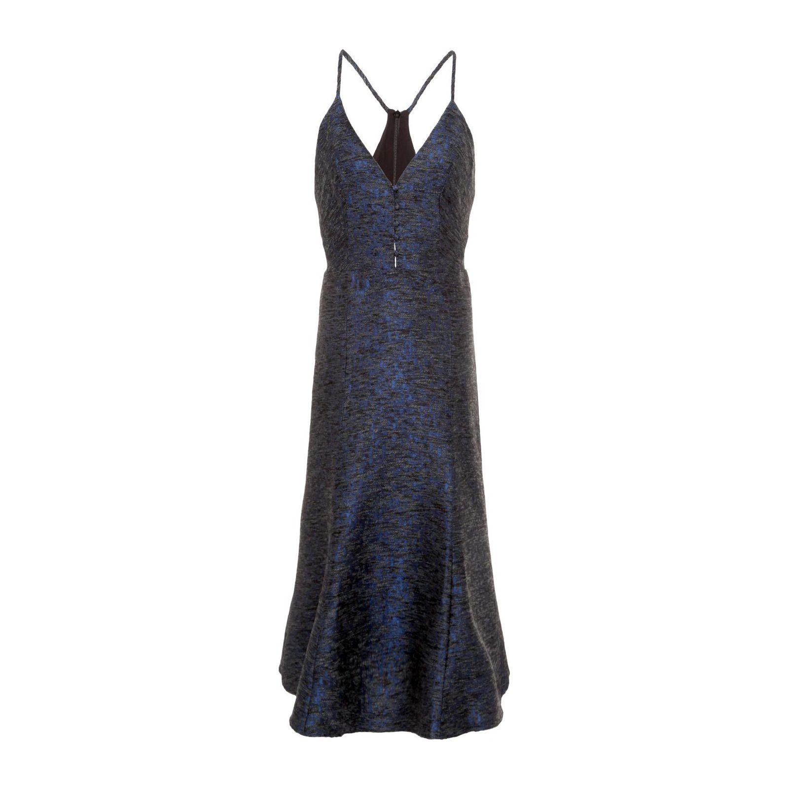 Vestido Jacquard Assimétrico Mídi - Azul