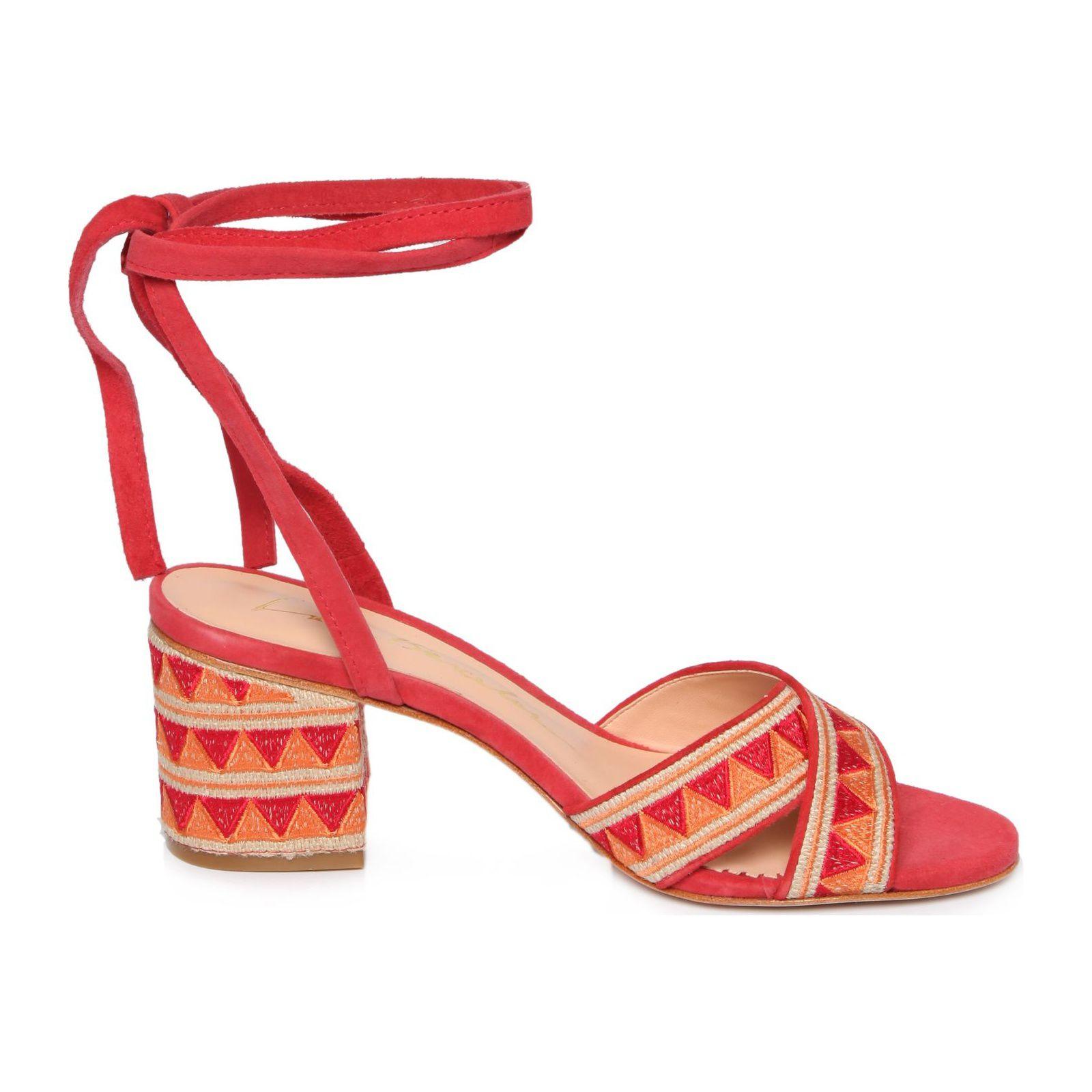 Sandália Salto Bloco Geométrico - Vermelho