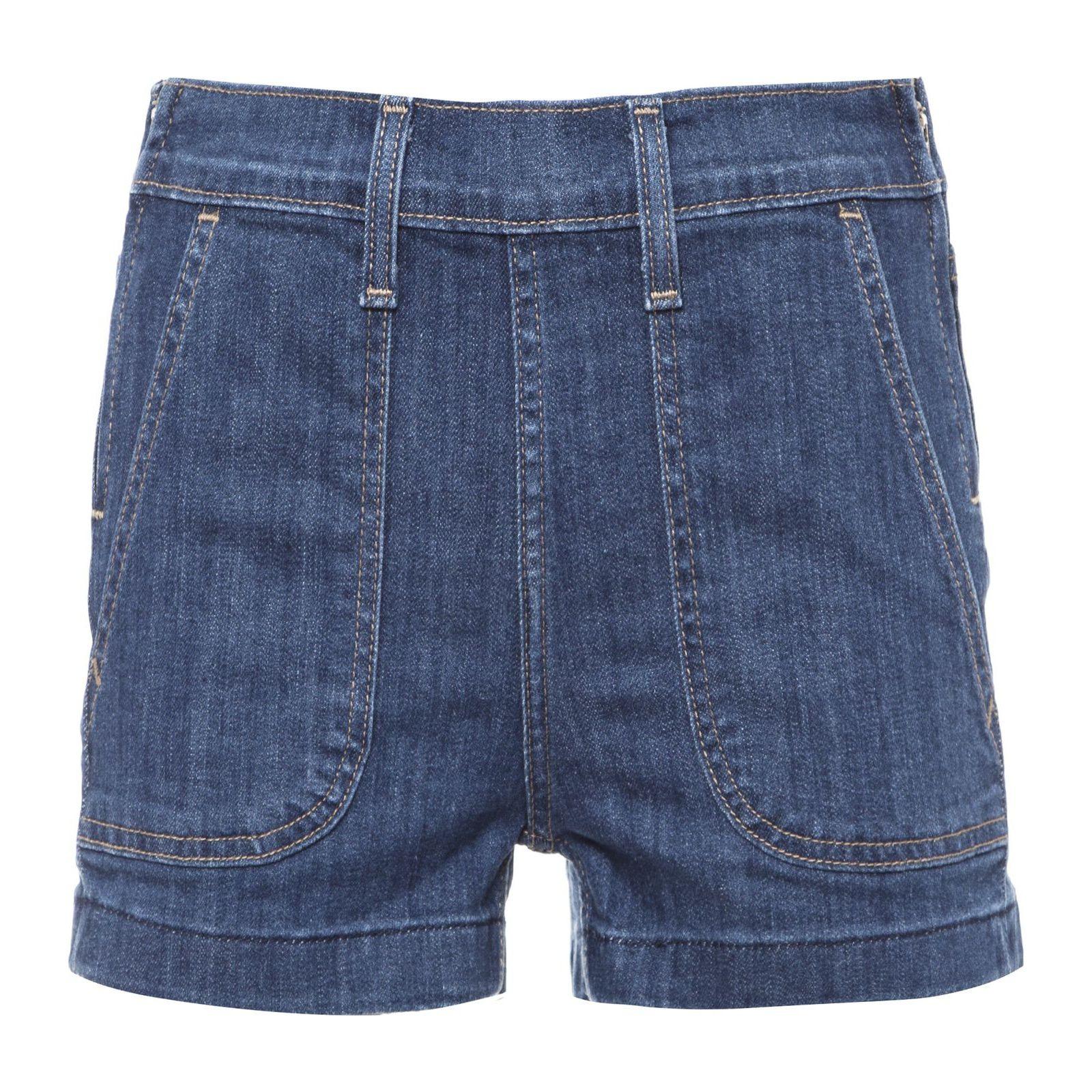 Short Jeans Detalhe Zíper - Azul