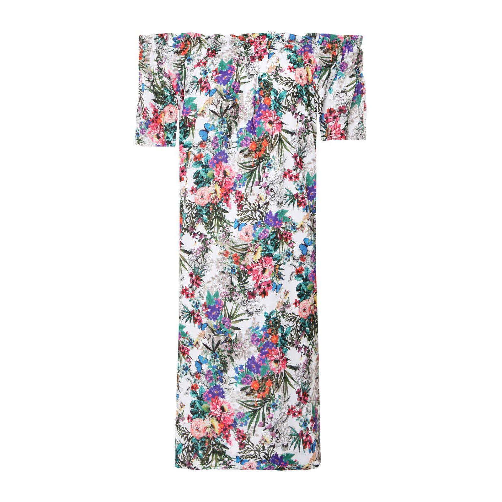 Vestido Ombro A Ombro Floral - Off White